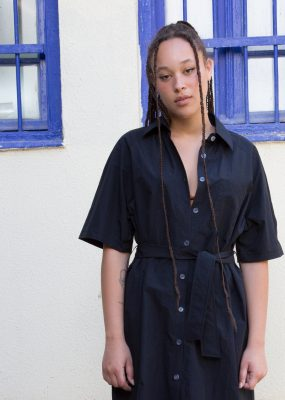 R RAGLAN BELT SHIRT DRESS_Black