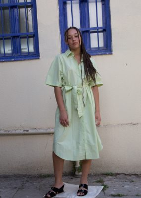 R RAGLAN BELT SHIRT DRESS_YELLOWISH GREEN