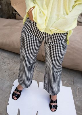 Gingham relaxed pants