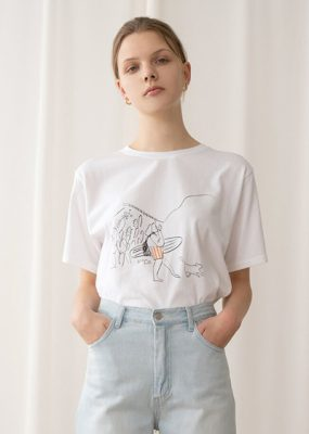 A sketch Tee – White Orange