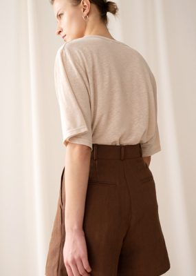 Herringbone Linen shorts – Brown