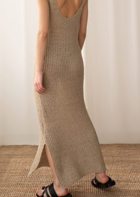 Tape knit dress – Beige