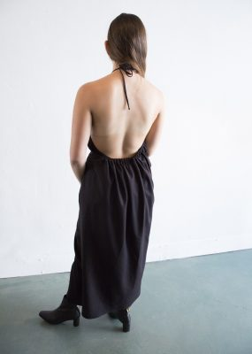 Apron Honda Dress – Raw Silk – Black