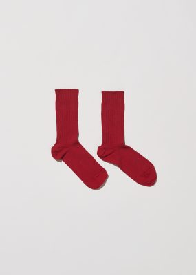 Rib Ankle Socks – Cotton Rib – ibin burgundy