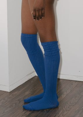Overknee Socks – Cotton Rib – Tang blue