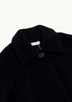 AMOMENTO  SHEARING BUTTON UP JACKET – BLACK