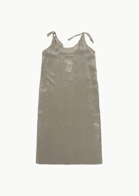 AMOMENTO TIED SLIP DRESS – Light khaki