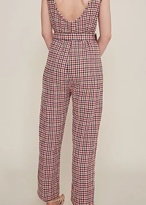 Rita Raw Maroon checkered Jumpsuit