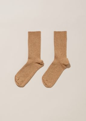 RIB ANKLE SOCKS – Camel