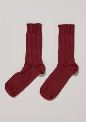 RIB ANKLE SOCKS – RED