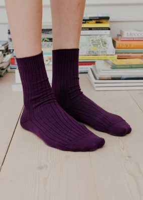 RIB ANKLE SOCKS – Purple