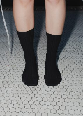 RIB ANKLE SOCKS – Black