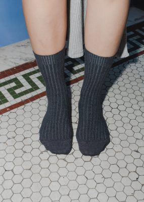 RIB ANKLE SOCKS – Grey Melange