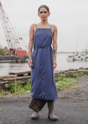 Yumi Apron Dress in Bari Blue – Wild Silk